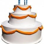 White-satan-yellow-shiffon-draped-over-popout-cake-#26